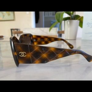 "Chanel ""Quilted"" tortoise shell sunglasses"